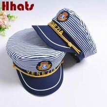 f70ad3663f Que no chuveiro listrado marinha cap chapéu militar plana moda chapéu de  capitão marinheiro família marinheiro cap osso mulheres.