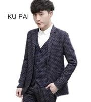 2017 New Suit Suit Men S Three Piece Slim Korean Version Of A Deduction Casual Suit