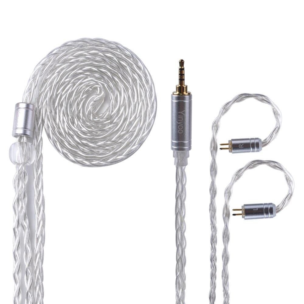 Yinyoo 8 Core Argent Plaqué Équilibré Câble 2.5/3.5/4.4mm Avec MMCX/2pin Connecteur Pour LZ a5 KZ AS10 ZS10 ZST ES4 ZS6/ED16