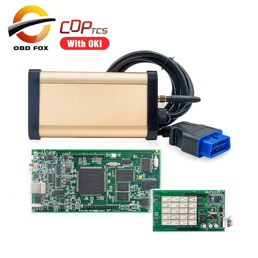 Prix pour OBD2 outil de diagnostic 2015R3 CDP super cdp tcs avec Double vert PCB pour voitures camions avec bluetooth et OKI Livraison gratuite