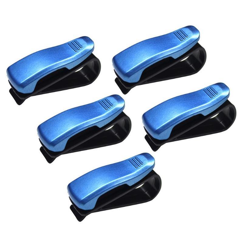 5/10 шт. Универсальный Авто Автомобильный солнцезащитный козырек, очки, солнцезащитные очки для женщин карты квитанции зажимы держателя установлен на солнцезащитном козырьке держать безопасно - Color Name: 5PCS Blue