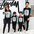 2016 New Family Spring Autumn  Matching Sweatshirts  Mom Girl Dad Son  Casual Printed Long  Sleeve Shirts Family Outfits