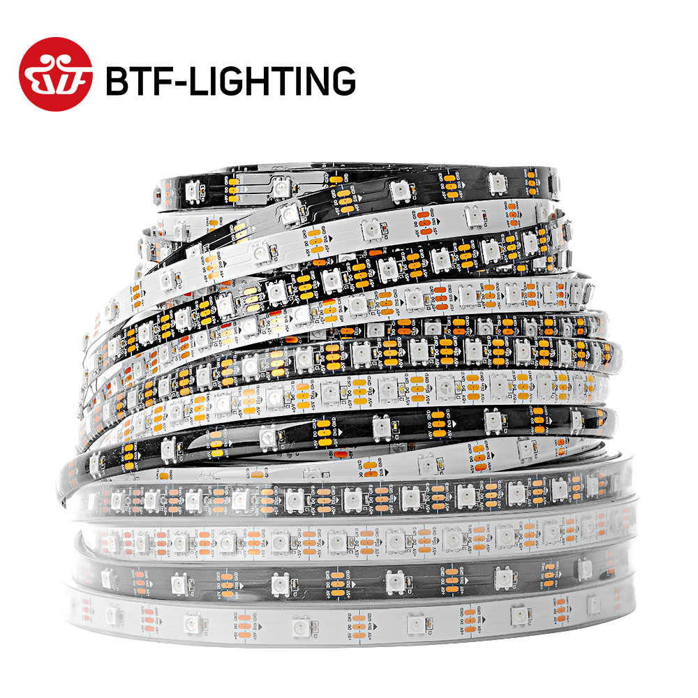 1m/5m 30/60/100/144leds/m WS2812B led strip light White/Black PCB IP30/IP65/IP67 Waterproof DC5V