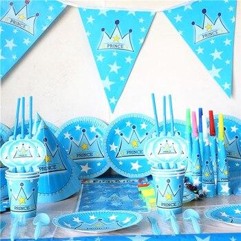 65 шт. для мальчиков детские синие наследный принц тема мультфильм День Рождения Декоративные вечерние события принадлежности пользу товар...