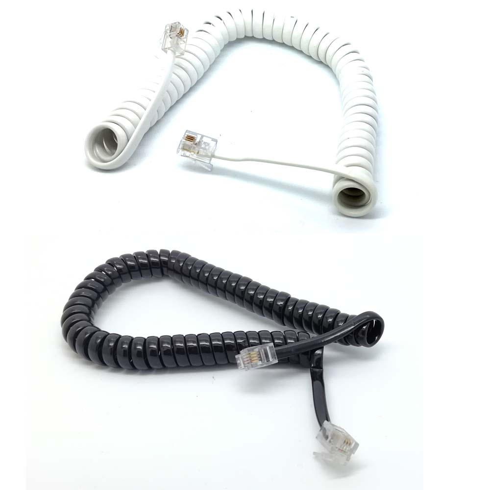 flexible 6ft 1.8M Male RJ11 Telephone Handset Phone Extension Cord Cable black WHITE