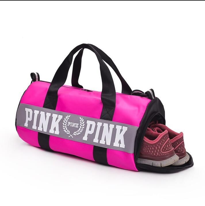Новый большой емкости сумка розовый в полоску вещевой мешок fit Пляжная Сумка Обувь secret выходные vs сумки для женщин 2018 bolsa