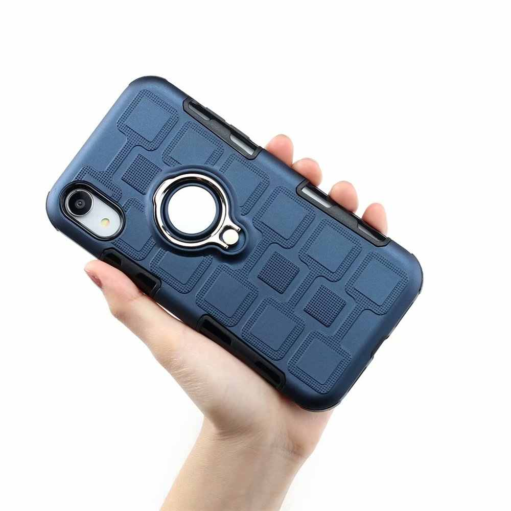Armor Phone Case For iPhone 11 X XS Max XR 8 7 6S Plus Magnetic Car Bracket Holder Silicone PC Protective Cover With Finger Ring