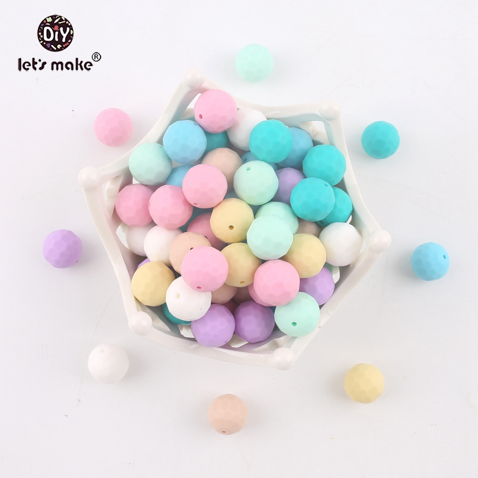 Let's Make Baby Silicone Teether Multi-faceted Beads 50pcs 15mm DIY Teething Necklace Stretchy Silicone Beads Baby Teether