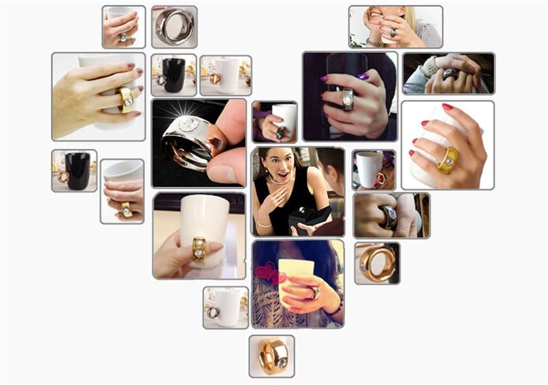 Creative Wedding Gifts Lovers Couple Cartoon Elegant Crystal Diamond Ring Mugs White Ceramic Cute Water Coffee Mug Drinkware7
