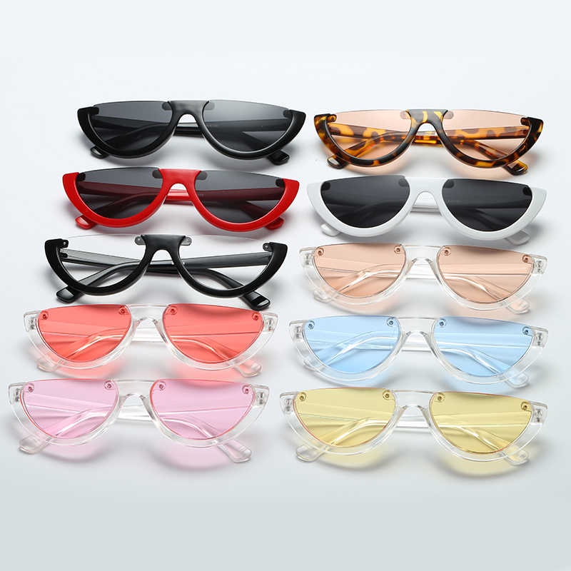 a936b563d4 ... Sunglasses Cool Trendy Half Frame Rimless Cat s Eye Sunglasses Women  2018 Fashion Clear Brand Designer Sun ...
