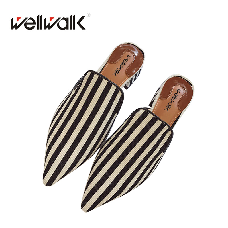 Ladies Shoes 2018 Fashion Striped Women Mules Pointed Toe Women Flat Slippers Spring Autumn Pearl Women Slide Shoes adyce 2018 new fashion spring women sets striped top