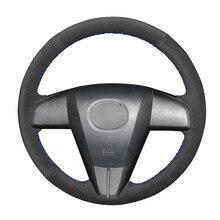 Ręcznie szyte diy czarny zamsz osłona na kierownicę do samochodu Mazda 3 Axela 2010 2013 Mazda 5 Mazda 6 CX 7 CX 9 MAZDASPEED3 (US)