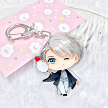 Yuri On Ice Key Chain Anime Acryli fashion Keychain Victor Nikiforov Katsuki Pendant Keyring Cute Character Figure