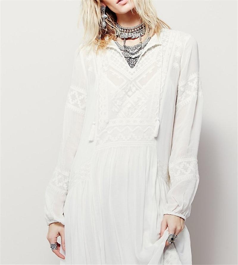 d98a7dca57ae Aliexpress.com : Buy CBAFU hippie chic people boho dress women autumn white  wine red long sleeve bohemian long maxi dress vestidos party dresses X095  from ...