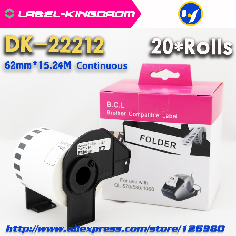 20 Rolls Generic DK-22212 Label 62mm*15.24M Continuous Compatible for Brother Printer QL-570/700 All Include Plastic Holder thumbnail