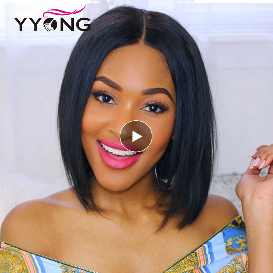 Yyong короткие парики боб кружева фронта человеческих волос парик для черных женщин предварительно выщипанные волосы с Детские Волосы бразильские волосы remy 120%