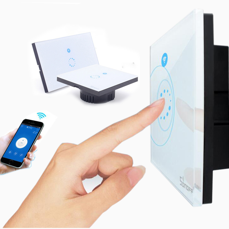 WiFi Wall Touch Light Switch 1 gang ON/Off Wireless Remote Control Timing Switch IOS Android Remote Home Automation 2017 free shipping smart wall switch crystal glass panel switch us 2 gang remote control touch switch wall light switch for led