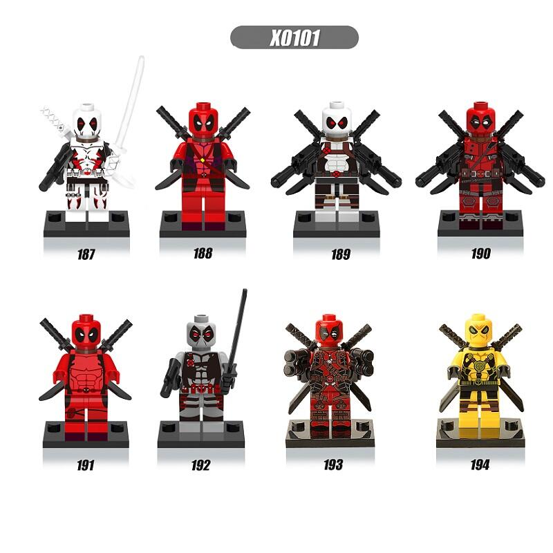 Single Sale Super Heroes X-Men White Yellow Red Deadpool Bricks Set Model Building Blocks Collection Toys for children X0101 single sale super heroes nya gamma master wu gnea pythor kozu zane ninja 71019 building blocks bricks toys for children pg8070