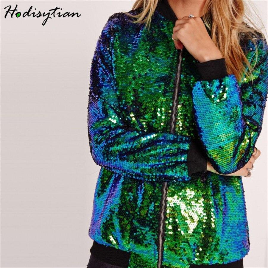 Hodisytian Spring Fashion Jacket For Women Casual Sequin Baseball Jacket Coat Bomber Bling Outerwear Casaco Female