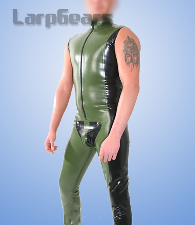 Army Green and Black Latex Rubber Gummi Sleeveless Body Suit with Pouch Rubber bodystocking