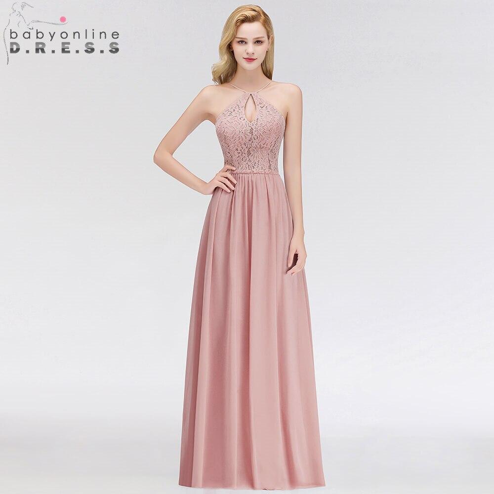Sexy Backless Halter Neck Lace   Evening     Dress   Elegant A Line Chiffon Pink   Evening   Gown Abendkleider Robe De Soiree Longo