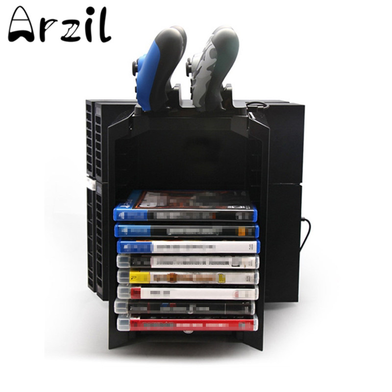 Universal Games Discs Storage Stand Gamepad Stands CD Box Disc Storage Tower Shelf PS4 /PS4 Silm Console Black ABS Plastic