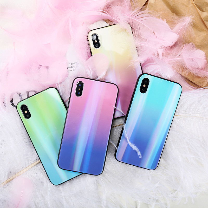 BONVAN For iPhone X 7 8 Plus Tempered Glass Back Case Gradient Color Laser Aurora Silicone Bumper For iPhone 7 6S 8 6 Plus Cover08