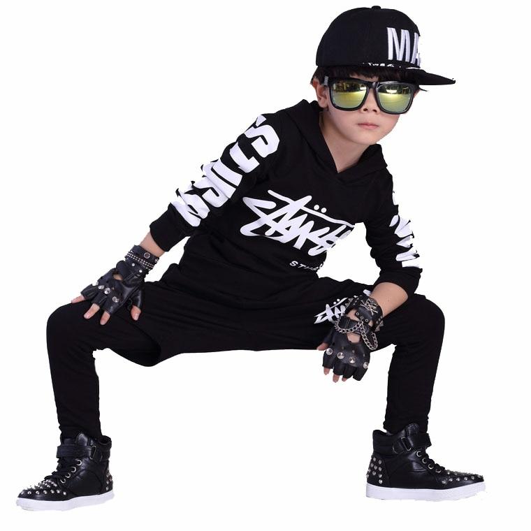 Jazz dance boys clothes kids hip hop clothing  Kids Suit black,red hooded Long Shirt + Pants Sweatshirt Casual Clothes tamrac jazz 36 black
