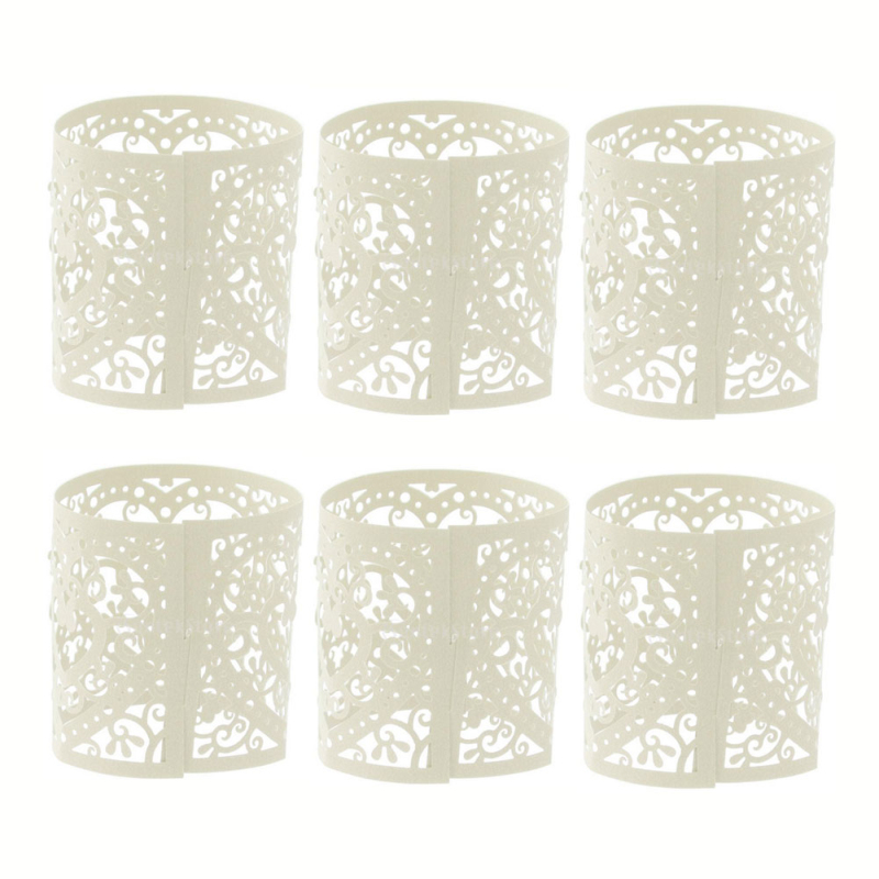 6Pcs Paper Cut Hollow Tea Light Candle Lampshade Holder Wedding Party Vintage Table Home Decor