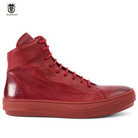 2017 Vintage Retro Handmade Genuine Leather RED Men Boots Cow Leather Wipe Fashion Lace Up Trainer Boots