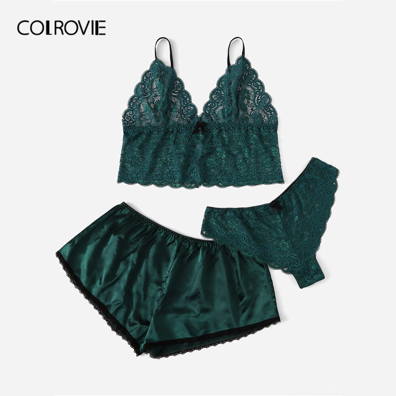dbf4fc46fd COLROVIE Plus Size Green Scalloped Trim Satin Cami Floral Top And Shorts Women  2019 Spring Korean