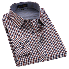 Men's Classic Plaid Checkered Dress Shirt Single Pocket Smart Casual Formal Male