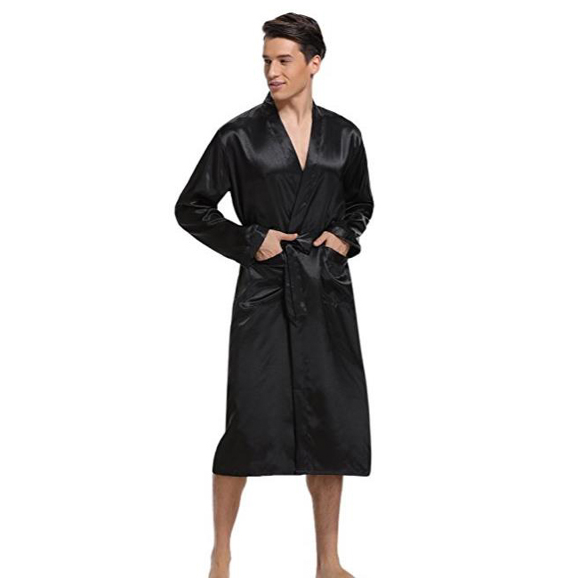 New Black Men Satin Rayon Robe Gown Solid Color Kimono Bath Nightwear Lounge Casual Male Nightgown Sleepwear Home Wear