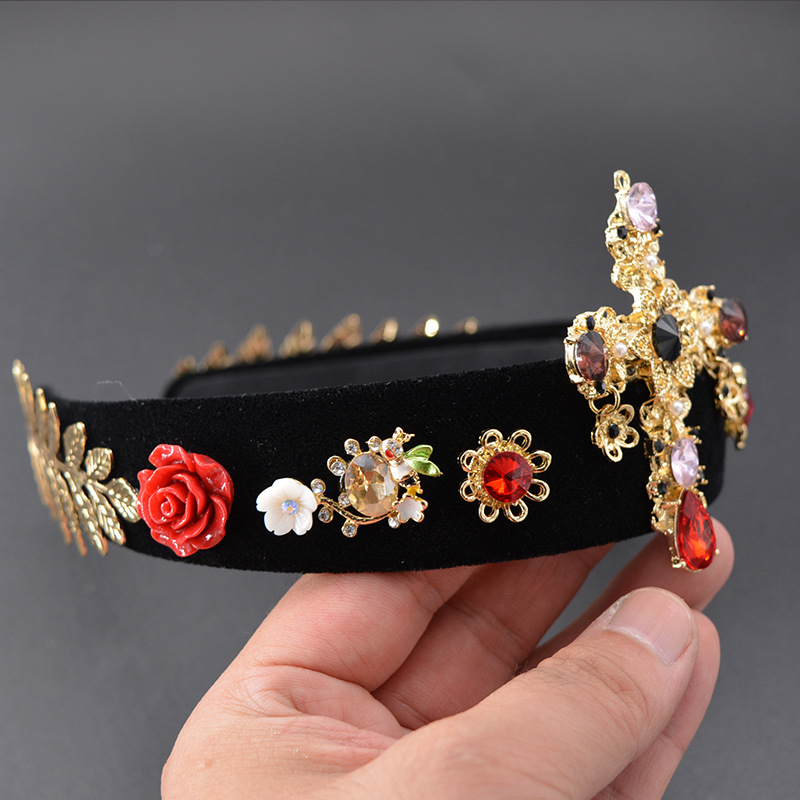 Wide Jewelled Headbands for Women with Gems Pearl Diamante Hair Accessories Black Head Band Jewel Baroque Headdress Diamond in Women 39 s Hair Accessories from Apparel Accessories
