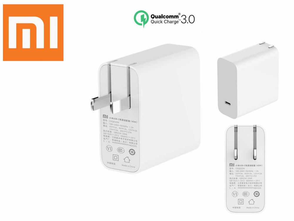 Original Xiaomi Mi USB-C Charger 45W Output Rate Socket Power adapter Type-C Port USB PD 2.0 Quick Charge QC 3.0 + Type C