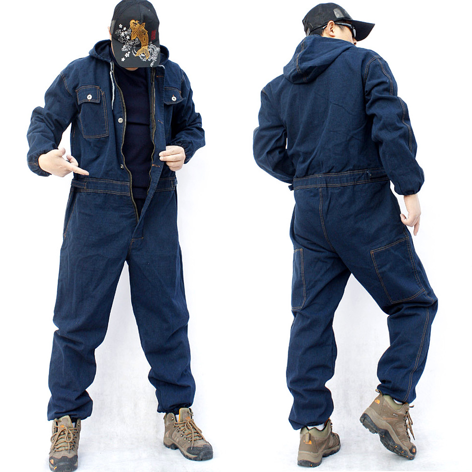 M-4XL 2018 new men's overalls jumpsuit long sleeve multi-pocket hood loose large size denim overalls   jeans   plus size