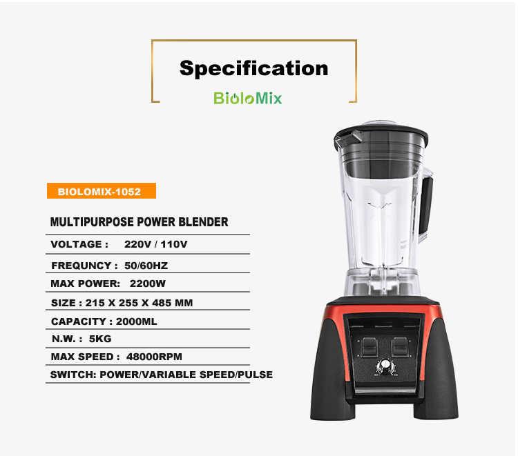 Super Heavy Duty Poder Profissional Comercial Liquidificador Processador de Alimentos Juicer Mixer 2L 3HP 45000RPM 2200W BPA livre Jar