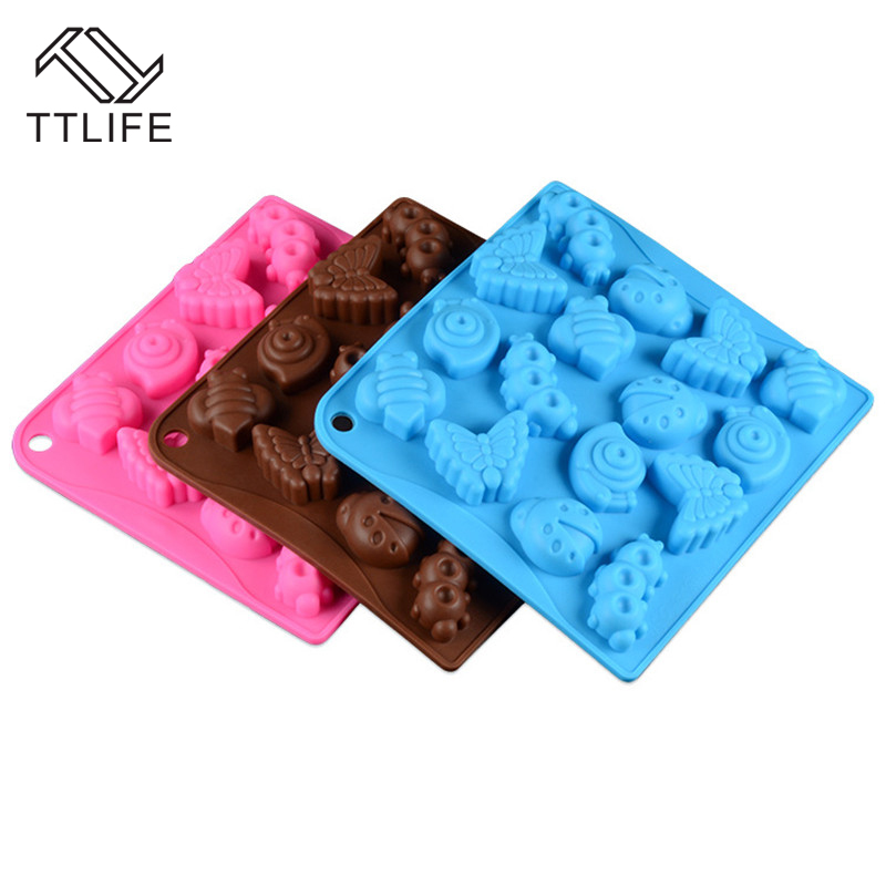 TTLIFE 16 Insect Silicone Chocolate Mold DIY Dessert Bakeware Fondant Jelly Pudding Mold Ice Cube Tray Confectionery Baking Dish
