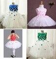 4 colores Encantadores 2016 de las muchachas de Flor del desfile de Cumpleaños vestido con Cap Manga Scoop Neck vestido de bola de la muchacha de baile vestidos Para boda
