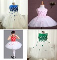 4 colors Lovely 2016 Flower girls Birthday pageant dress with Cap Sleeve Scoop Neck ball gown girl's prom dresses For Wedding