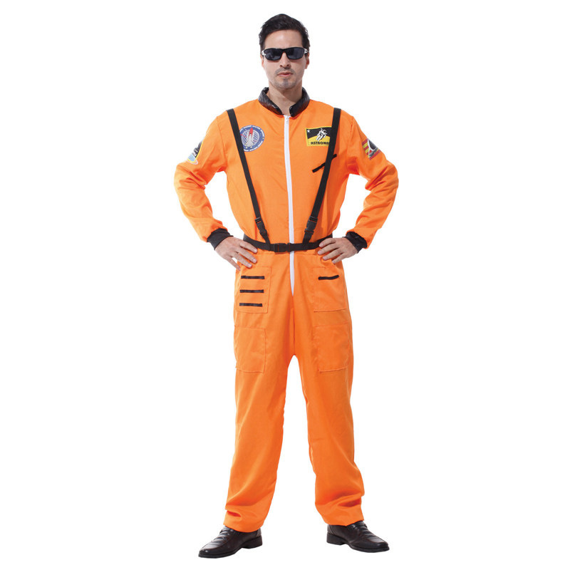 Adult White Orange Astronaut Jumpsuit Costume Spaceman Cosplay Suit Outfit With Safety Strap