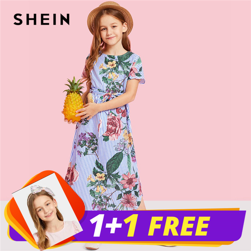 SHEIN Girls Flower Print Striped Long Casual Dress Girls Clothes 2019 Spring Korean Fashion Short Sleeve Belted Kids Dresses heart print dress
