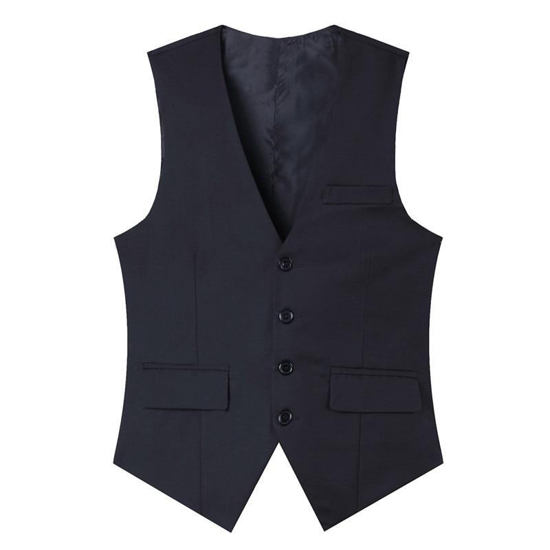 Pure cot high-quality goods High-end wedding dress and groom pure color suit vest Men Black grey slim business suits vest Male