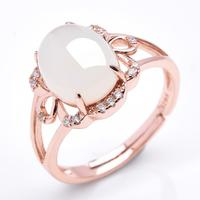925 Silver Rose Gold Natural White HeTian Stone Gem Inlay Lucky Ring adjustable + Certificate Fine Rings Fashion Jewelry