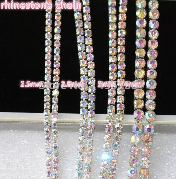 Detail Feedback Questions about 10 Yards Roll Rhinestone Trim Silver Base  Claw AB Crystal Rhinestone Cup Chain Wedding Decoration Sew On Clothes  Accessories ... 1f2f69a0b3e7