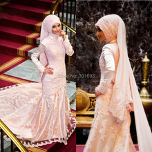 Oumeiya ONW568 Real Pictures Hijab Veil High Neck Long Sleeve Mermaid Muslim Wedding Gown 2016