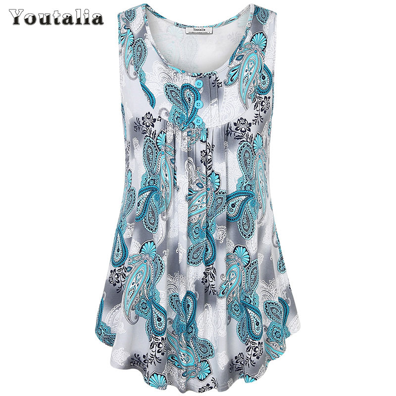 25bd1c4a Youtalia Womens Summer Sleeveless Scoop Neck Shirts Pleats Flowy Tunic Tank  Casual Tank Tops Ladies Button Vest Blusas Feminino-in Tank Tops from  Women's ...