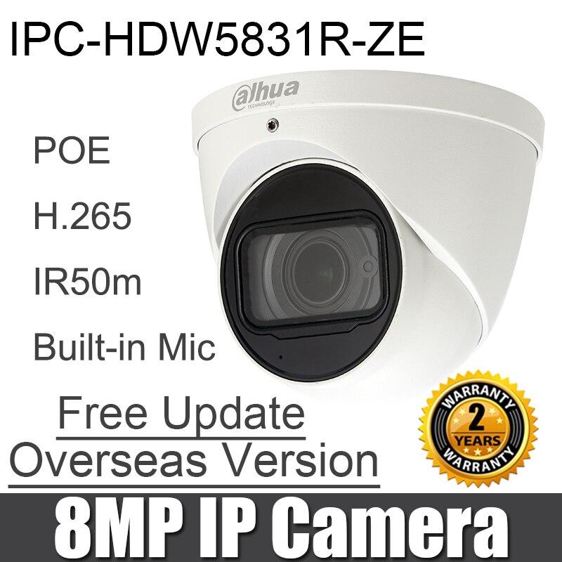 Dahua IPC HDW5831R ZE 8MP IP camera 2 7 12mm motorized lens IR Eyeball poe h