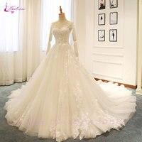 Waulizane элегантный тюль v образным вырезом линии Свадебные платья Вышивка аппликации Кружево без рукавов Кружево до Цветочный принт платье не