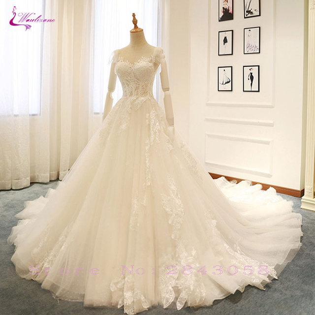 0a4d13360125 Waulizane Elegant Tulle V-Neck A-Line Wedding Dresses Embroidery Appliques  Lace Sleeveless Lace Up Floral Print Bride Dress
